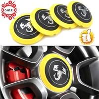 4pc/set 133mm Alloy Wheel Centre hub Cap for Fiat 500 Abarth 04726184AA 53106013 86919 in Black yellow Abarth Scorption Logo