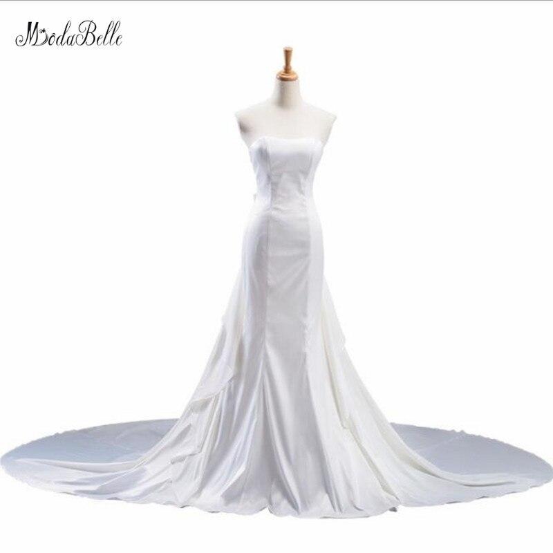 Modabelle-Vestido De novia largo plisado De sirena, Vestido De Boda blanco satinado,...