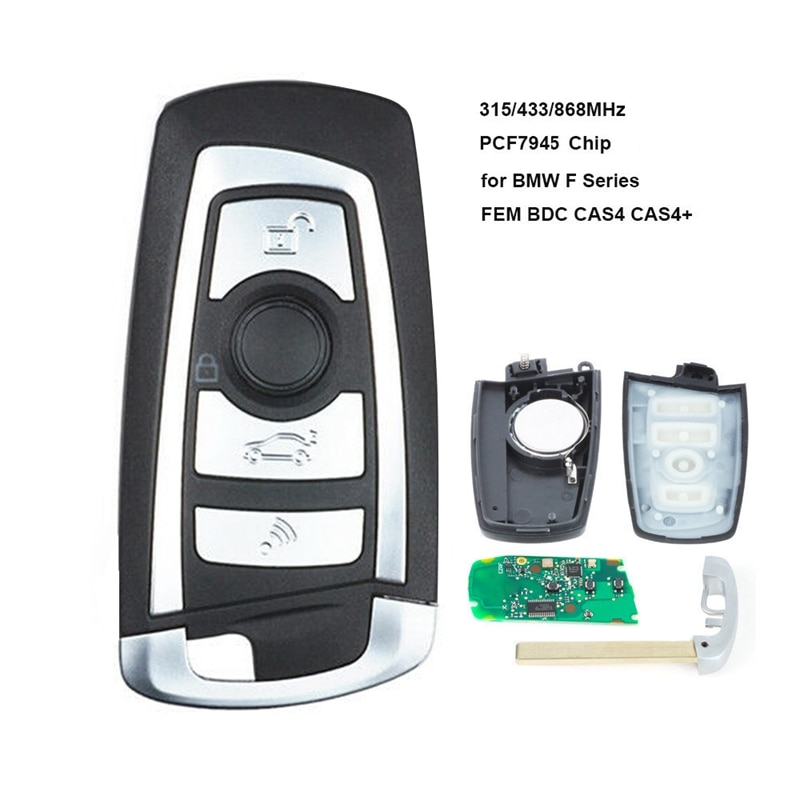 Mando a distancia de coche inteligente Pcf7945 Chip 3 botones para BMW DEM/Bdc Cas4 Cas4 + 2011-2017
