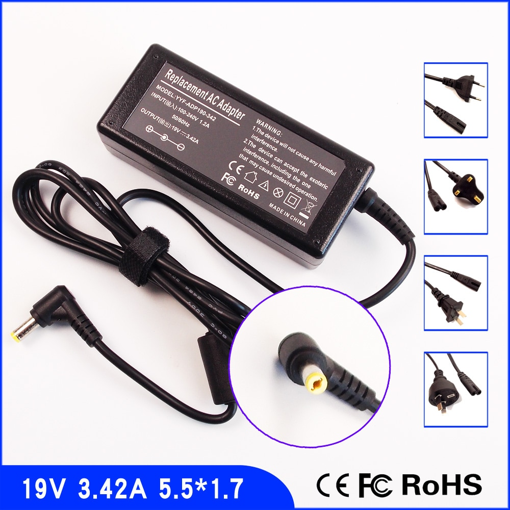 19V 3.42A portátil cargador/adaptador de CA/Fuente de alimentación + cable para Acer...