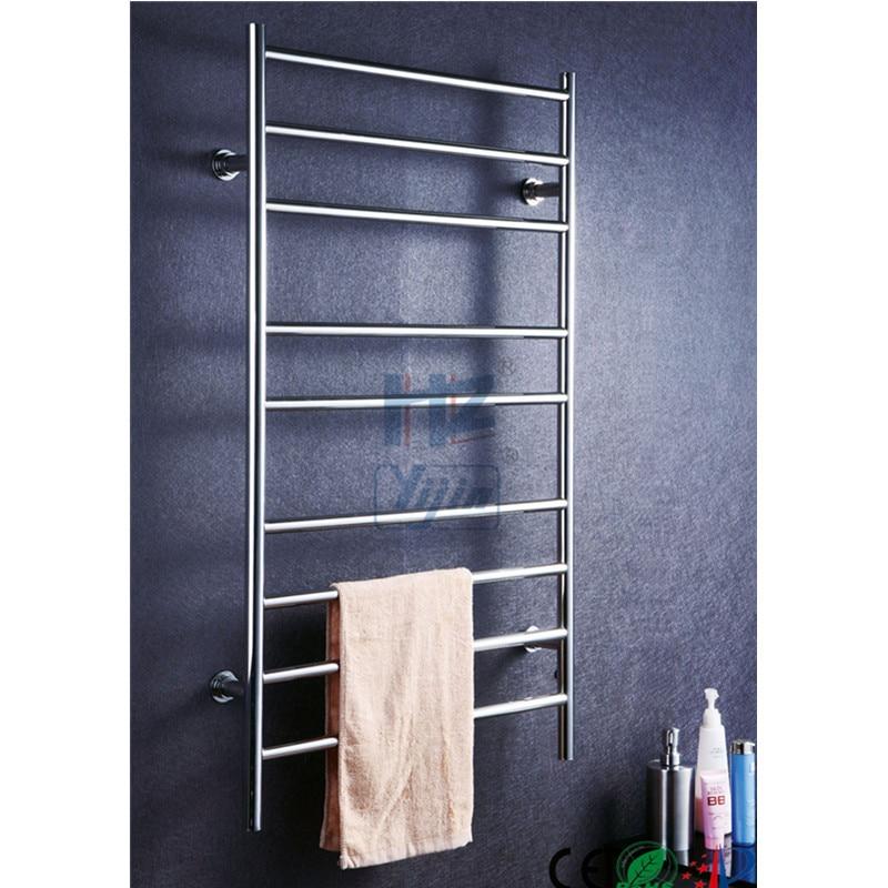 Chauffe-serviettes électrique en acier inoxydable   Support de salle de bain, en polissage, chauffe-serviettes électrique, étagère de salle de bain