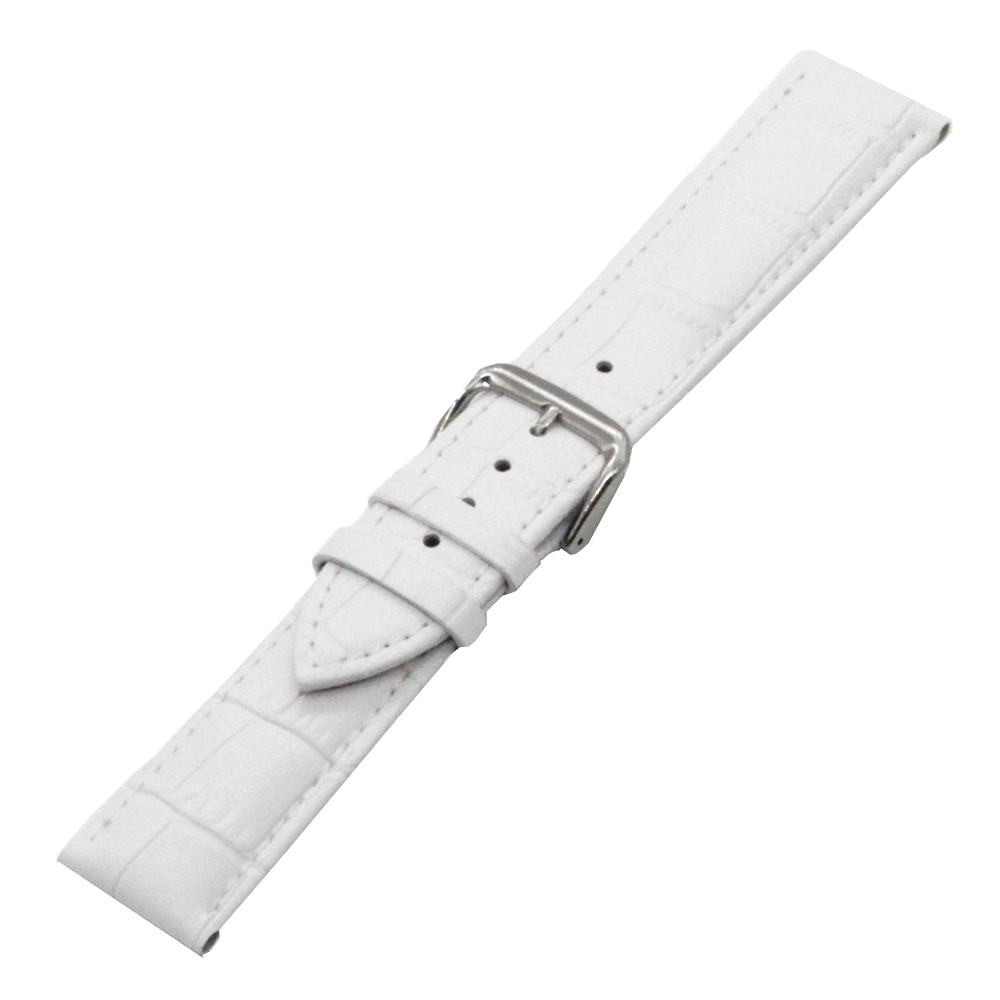 Genuine Leather Watch Band 20mm 22mm for Ticwatch 1 2 42mm 46mm Stainless Steel Pin Clasp Strap Wrist Loop Belt Bracelet Black