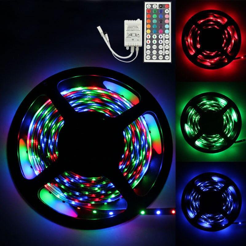 5 M RGB 300 LED SMD lámpara de tira de luz Flexible 44 teclas IR control remoto colores Cambio de tira de luces nocturnas fiesta Decoración de casa