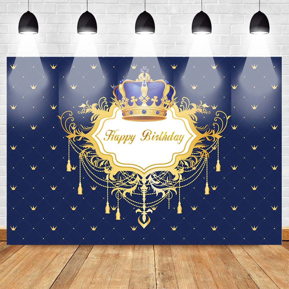 Crown Happy Birthday Photo Background Royal Newborn Baby Party Banner Supplies Props Backdrop Repeat Crown Pattern Blue Studio