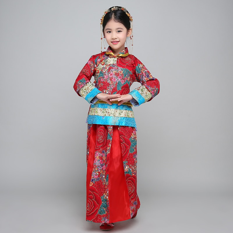Chinese Folk Dance Costume Hanfu Suit Tang Dynasty National  Fairy Dress Children Ancient Vintage Xiuhe Bride Wedding Dress фото