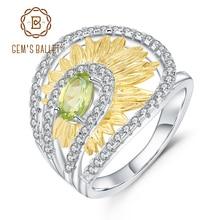 Gem86s ballet 0.86ct natural peridot girassol anéis 925 prata esterlina criativo artesanal anel para bijoux jóias finas