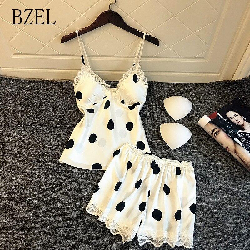 BZEL, conjuntos de Pijama de encaje Sexy, Pijama de verano para mujer, ropa de dormir con cuello en V, pantalones cortos, conjunto de traje, ropa de hogar bonita, ropa de hogar de lunares XL