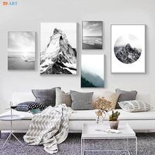 Plakat z naturą obraz na płótnie czarno-biała ściana plakat artystyczny i druk ścienny zdjęcia dekoracje biurowe wydruki na płótnie Mountain Beach