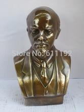 SHUN Antique copper Art collectible Exquisite Lenin Busts sculpture Metal crafts, Modern home decor Gift