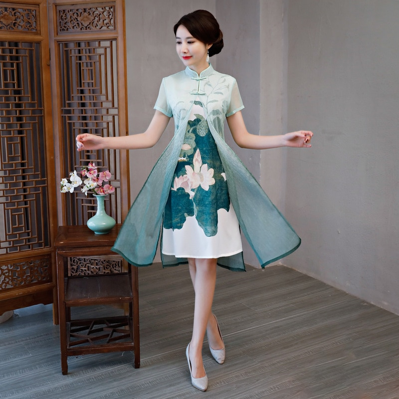 Chinese Middle Dress Women's Bamboo Fiber Cheongsam
