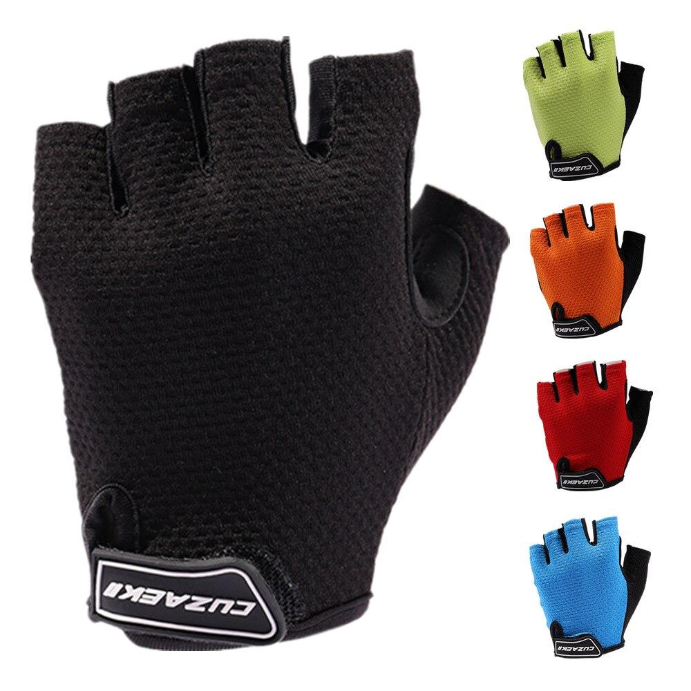 Cuzaekii hombres mujeres verano ciclismo medio dedo guantes carretera bicicleta MTB guantes a prueba de golpes ropa deportiva al aire libre