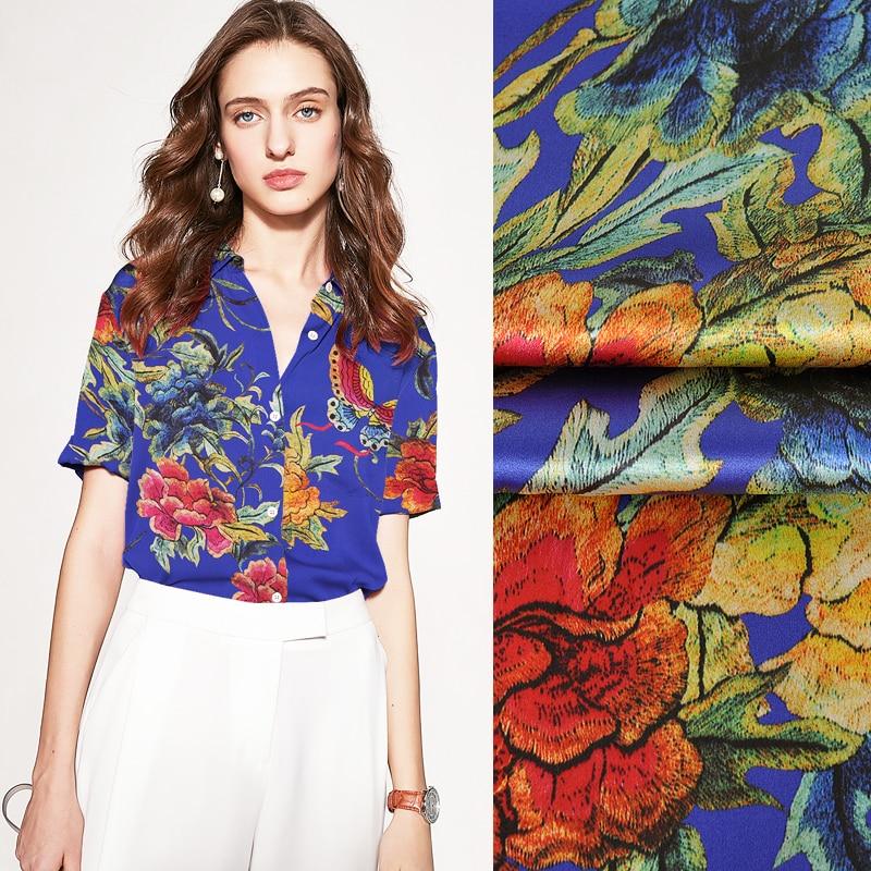 118CM de ancho 19MM impresión floral mariposa estiramiento tela de satén de seda azul bueno para el verano vestido falda camisa pantalones JH135