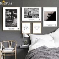 black white character landscape geometry diamond quote canvas print painting poster wall pictures for living room home decor