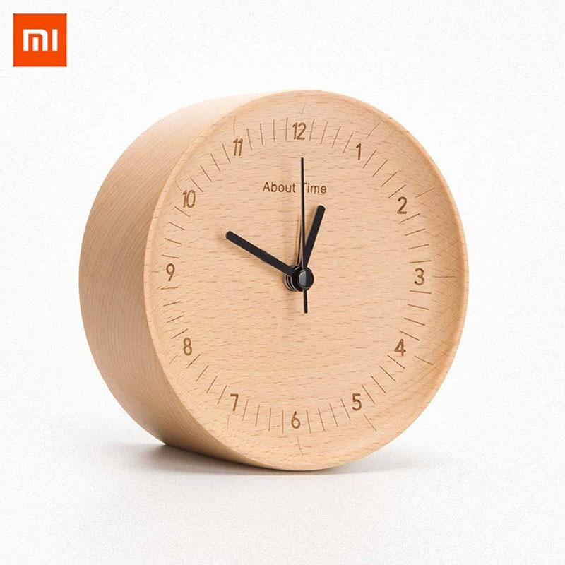 Деревянные цифровые часы-будильник Xiaomi, вогнутый дизайн, немецкий Буковый материал, современные деревянные цифровые часы-будильник для укр...