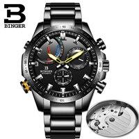 Switzerland BINGER Watch Men Automatic Mechanical Luxury Brand Men Watches Waterproof relogio masculino reloj clocks full steel