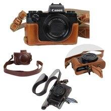 Nouveau sac de luxe en cuir Pu pour appareil photo pour Canon Powershot G5X G-5X pochette de couverture dappareil photo avec sangle batterie ouverte directement