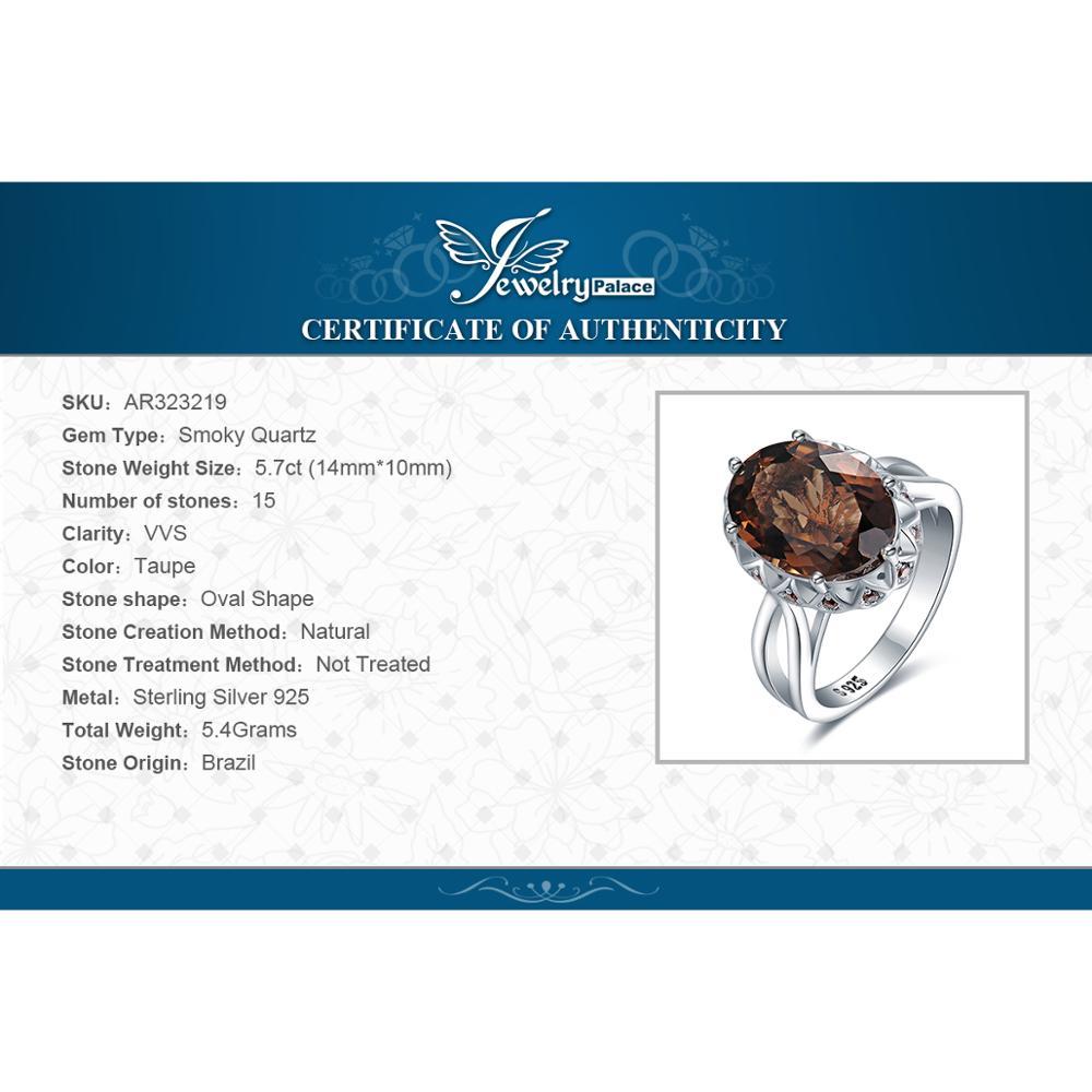Купить с кэшбэком JewelryPalace Huge Genuine Smoky Quartz Ring 925 Sterling Silver Rings for Women Engagement Ring Silver 925 Gemstones Jewelry