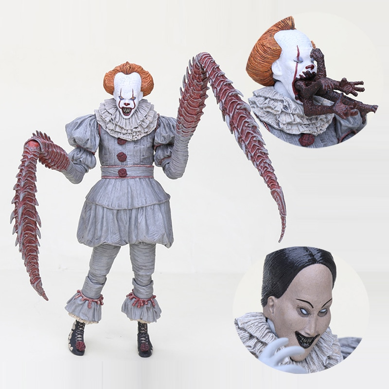 18cm NECA Ele Horror Palhaço palhaço Pennywise 4 rosto pode mudar LED luz PVC Action Figure Toy Modelo