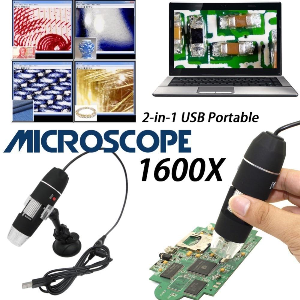 Mega píxeles 1600X 8 LED Microscopio Digital cámara endoscopio USB Microscopio lupa...