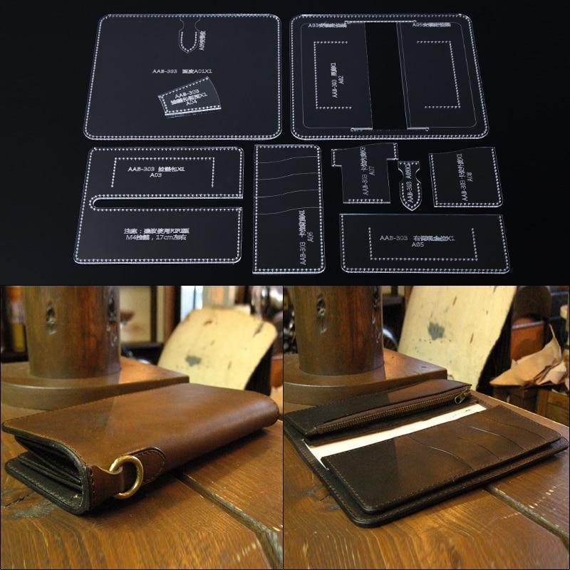 1 Set Leather Craft Clear Acrylic Clutch Bag Handbag Pattern Stencil Template Tool Set DIY Kit 19*9*2cm