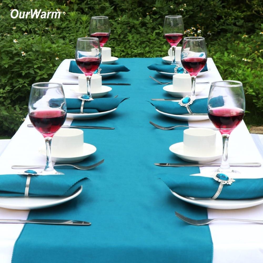 Nuestra cálida Decoración de mesa de boda azul azulado caminos de mesa de satén silla fajas anillos de servilleta para decoración de fiesta de boda en casa