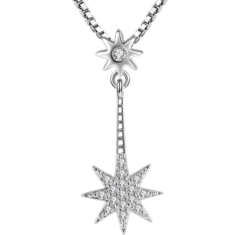 Мода Циркон личность восьмиугольная звезда кулон ожерелье женские