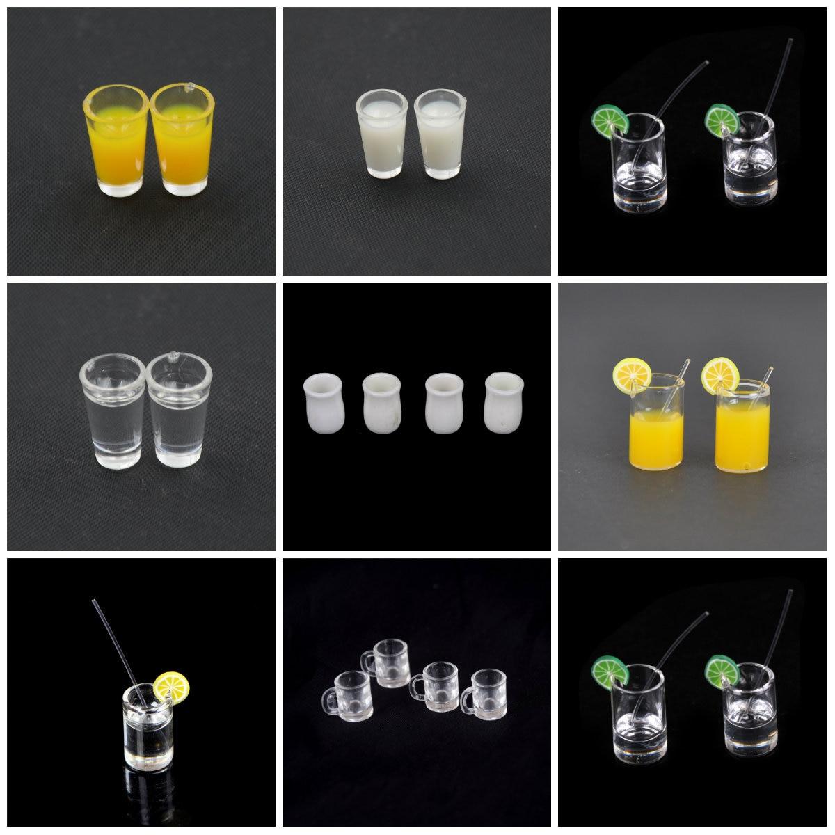 112 Poppenhuis Hars Mini Citroen Water Cup/Sinaasappelsap/Koffie/Thee Drinken Beker Miniatuur Poppenhuis Accessoires Cups speelgoed Geschenken