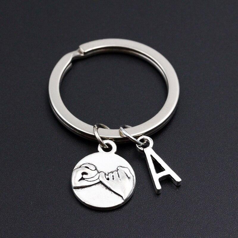 Personalizado A-Z carta inicial pinky promessa diy chaveiro para melhor amigo casal namorado namorada presente das mulheres dos homens moda chaveiro