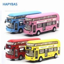 Alloy London Bus Double Decker Bus pull back &Light & Music Open Door Design Metal Bus Diecast Bus Collecting toys Children gift