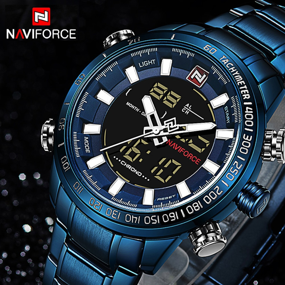 NAVIFORCE 9093, reloj de cuarzo de la mejor marca para hombre, a la moda LED Digital reloj deportivo, relojes impermeables para hombre, reloj Masculino