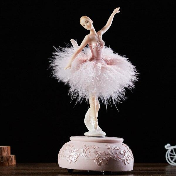 Ballerine élégante danse carrousel boîte à musique rose blanc plume boîte à musique bricolage saint valentin cadeau danniversaire pour les filles