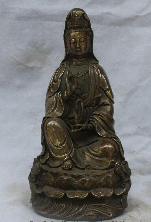 Asiento de flor de loto de bronce chino de 13 pulgadas bi001843 escultura de Estatua de la diosa kwan-yin Guan yin