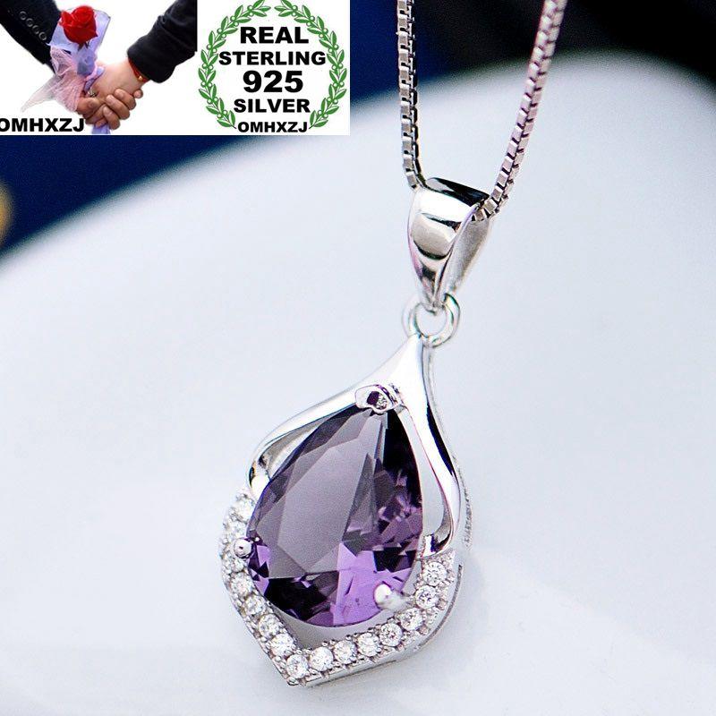 Ожерелье с подвеской OMHXZJ, из стерлингового серебра 925 пробы с аметистом и цирконием, для вечеринки и свадьбы, опт