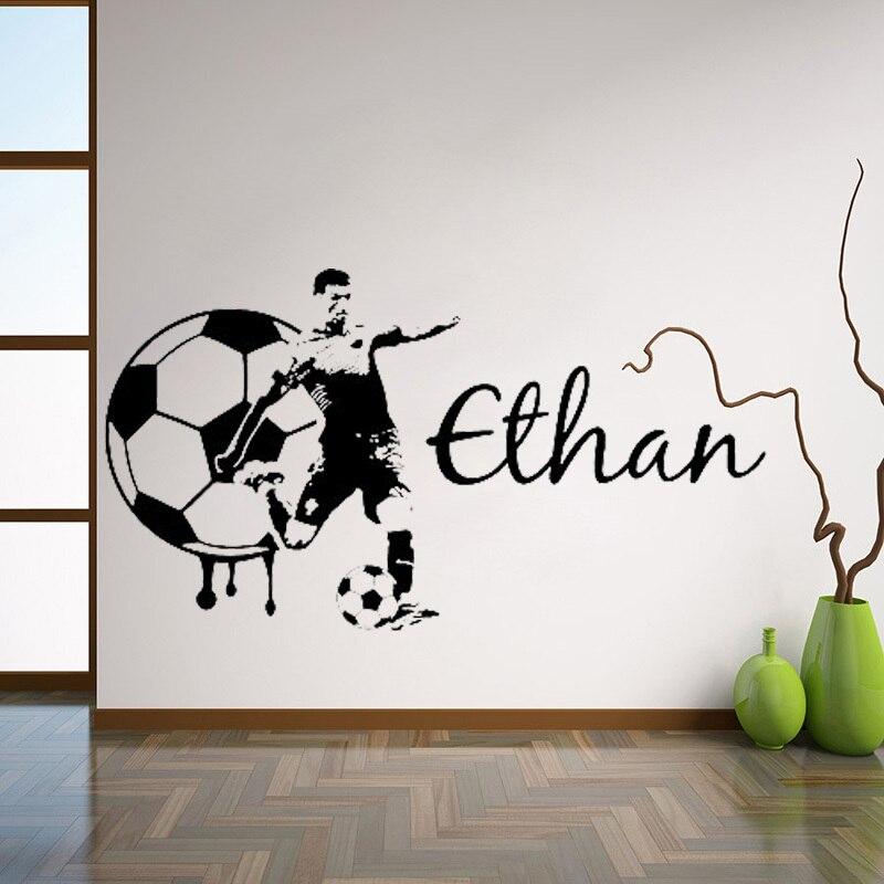 Nombre personalizado de fútbol, Gran Pared de fútbol, calcomanía artística, pegatina de vinilo para teen boy kids, decoración de dormitorio, Mural deportivo, decoración del hogar L129