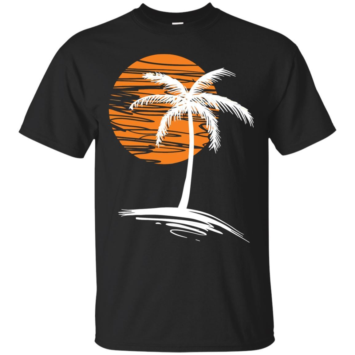 Palma puesta de sol árbol-Outrun Synthwave nueva Retro ola camiseta-negro, camiseta de la Marina Cool Casual pride camiseta hombres Unisex moda