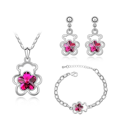 Flor de oso lindo ciruela flor colgante de cristal de moda conjuntos de joyería libre drop shipping romántico mujeres collar pendientes pulsera