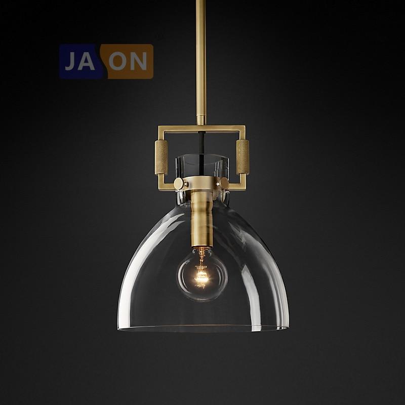 led e27 American Copper Glass Gold Pendant Lamp.Pendant light Lamparas De Techo Suspension Luminaire Lampen For Foyer