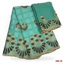 Tissu en dentelle de coton suisse 3 mètres   Dentelle Guipure dorée, tissu de pierres et tissu turban en mousseline de coton 2 yards,