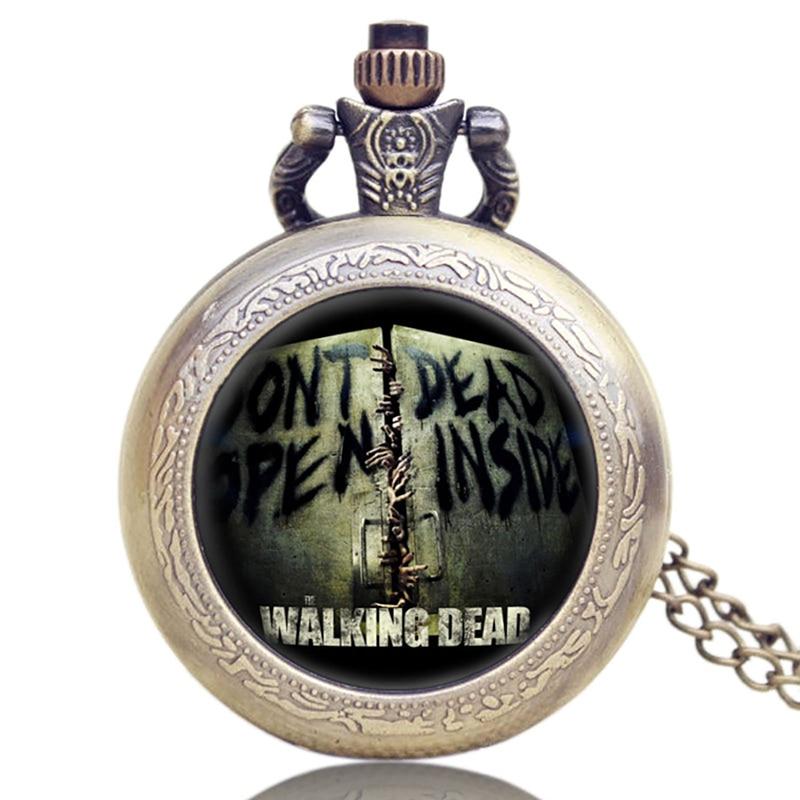 Drama americano Herói Rick The Walking Dead Projeto de Quartzo Relógios de Bolso Fob Relógio de Bolso Colar de Pingente Com Corrente para Presentes