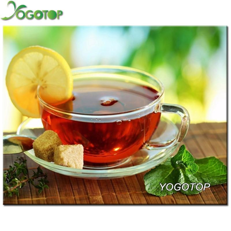 YOGOTOP 5D мозаика картина Алмазная вышивка лимонный чай Сделай Сам Алмазная Картина Вышивка крестом узоры квадратная рукоделие VS596