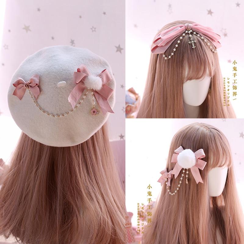 Acessórios japoneses para cabelo, grampos de cabelo rosa, grampos laterais, kc, lindo arco, irmã macio