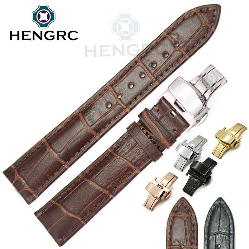 Ремешок для часов из натуральной кожи, черный, коричневый, 18, 19, 20, 21, 22, 24 мм
