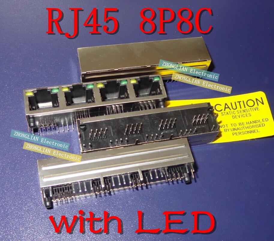 50 قطعة/الوحدة RJ45 8P8C 4 منافذ الصلب درع شبكة الإناث جاك/مقبس موصل 1*4P 90 درجة مع LED