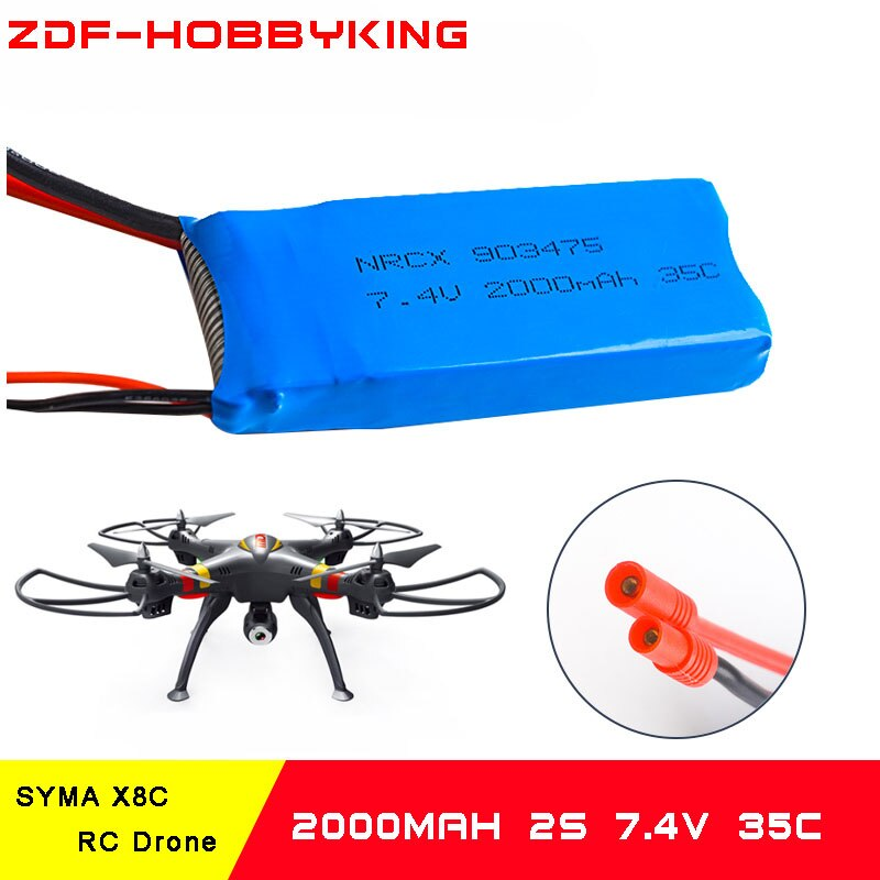 Batería Syma X8 7,4 V 2000mAh 35C con enchufe Banana y cargador de equilibrio para X8C X8W X8G X8HC X8HW X8HG Quadcopter