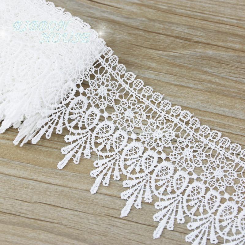 (2 meters/lot) 95mm White black pink Silk Net Lace Fabric Ribbons Trim DIY Sewing Handmade Craft Materials