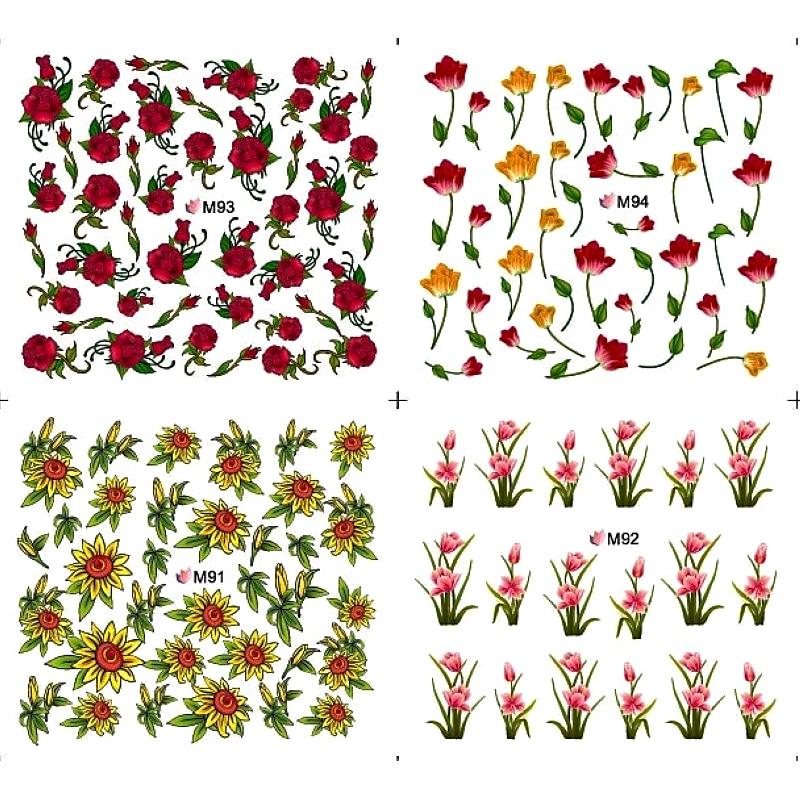 4 paquetes/lote de Arte de uñas transferencias de agua calcomanías de uñas pegatinas flor cubierta completa tulipán orquídea Rosa BUD M091-M094