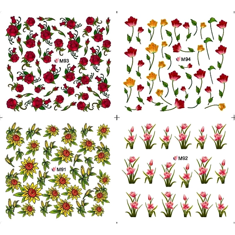 Переводные наклейки на ногти, дизайн ногтей, 4 упаковки/набор, переводные наклейки на ногти, наклейки с цветами, полное покрытие, тюльпаны, орхидеи, розы, бутон, M091-M094