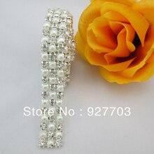 (CM101) 1 Yards 3 Reihen Klarem Kristall Strass Diamant Perle Wraps Sewing Craft