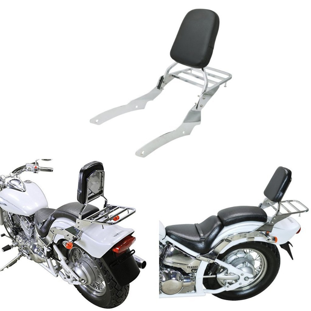 Respaldo cromado para motocicleta, barra Sissy con bastidor para equipaje, almohadilla de respaldo para Yamaha v-star Vstar 650 400, personalizado 1996-2011