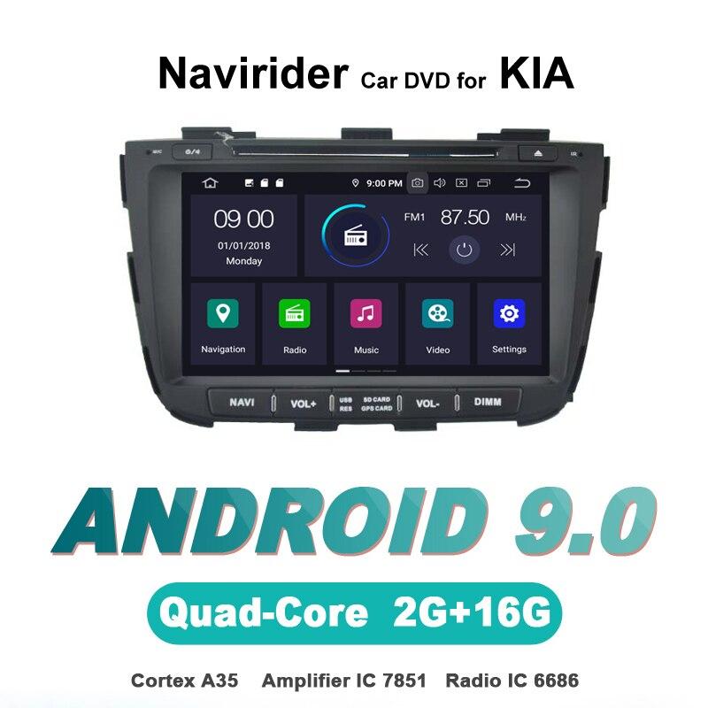 Navirider-autoradio gps navigation   android 9.0, lecteur dautoradio pour KIA SORENTO, 2013 dvd, bluetooth AUX, accessoires automobiles stéréo